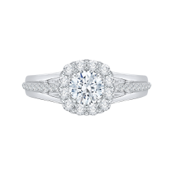 14K White Gold .57 ct. Diamond Promezza Engagement Ring with Round Center
