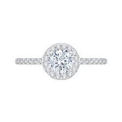 14K White Gold .43 ct. Diamond Promezza Engagement Ring with Round Center