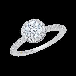 14K White Gold .43 ct. Diamond Promezza Engagement Ring with Round Center