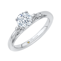14K White Gold Promezza Engagement Ring with Round Center