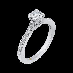 14K White Gold 5/8 ct. Diamond Promezza Engagement Ring with Round Center