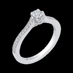 14K White Gold 3/8 ct. Diamond Promezza Engagement Ring with Round Center