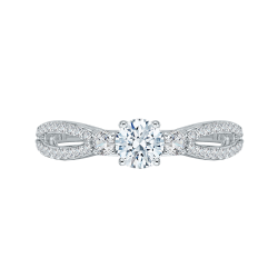14K White Gold .34 ct. Diamond Promezza Engagement Ring with Round Center