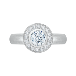 14K White Gold .28 ct. Diamond Promezza Engagement Ring with Round Center