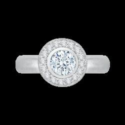 14K White Gold .28 ct. Diamond Promezza Engagement Ring with Round Center