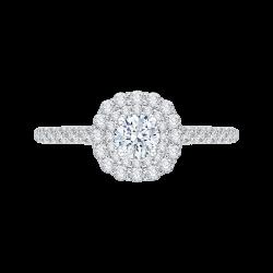 14K White Gold .60 ct. Diamond Promezza Engagement Ring with Round Center