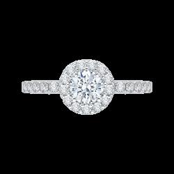 14K White Gold 1.31 ct. Diamond Promezza Engagement Set with Round Center
