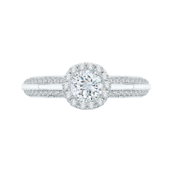 14K White Gold .36 ct. Diamond Promezza Engagement Ring with Round Center
