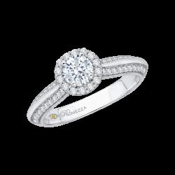 14K White Gold .36 ct. Diamond Promezza Engagement Ring with Round Center