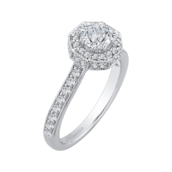 14K White Gold .46 ct. Diamond Promezza Engagement Ring with Round Center
