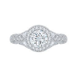14K White Gold .65 ct. Diamond Promezza Engagement Ring with Round Center