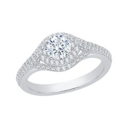 14K White Gold .64 ct. Diamond Promezza Engagement Ring with Round Center