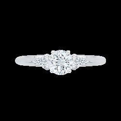 14K White Gold .14 ct. Diamond Promezza Engagement Ring with Round Center