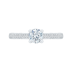 14K White Gold .32 ct. Diamond Promezza Engagement Ring with Round Center