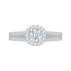 14K White Gold .42 ct. Diamond Promezza Engagement Ring with Round Center