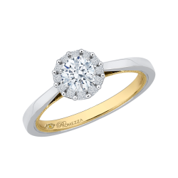14K Two-Tone Gold  7/8 Ct. Diamond Promezza Engagement Ring With Round Center