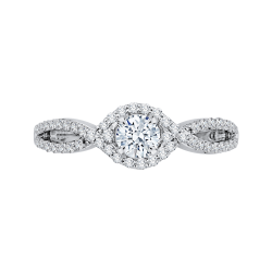 14K White Gold  7/8 Ct. Diamond Promezza Engagement Ring With Round Center