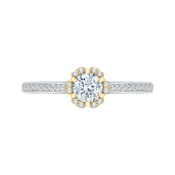 14K Two-Tone Gold 1/2 Ct. Diamond Promezza Engagement Ring With Round Center