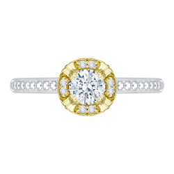 14K Two-Tone Gold 3/8 Ct. Diamond Promezza Engagement Ring With Round Center