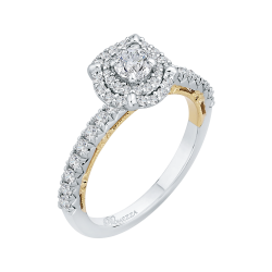 14K Two-Tone Gold  3/4 Ct. Half Diamond Promezza Engagement Ring With Round Center