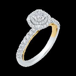 14K Two-Tone  3/4 Ct. Diamond Promezza Engagement Ring With Round Center