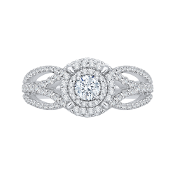 14K White Gold  7/8 Ct. Half Diamond Promezza Engagement Ring With Round Center