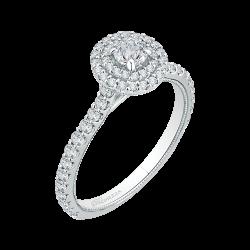 14K White Gold  1 .07 Ct. Diamond Promezza Engagement Ring With Round Center