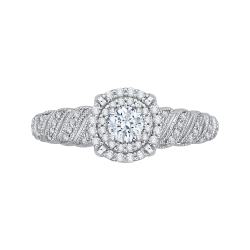 14K White Gold  1/2 Ct. Diamond Promezza Engagement Ring With Round Center