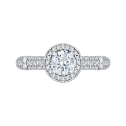 14K White Gold  1 .10 Ct. Diamond Promezza Engagement Ring With Round Center