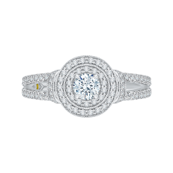 14K White Gold 1 1/2 ct. Diamond Promezza Engagement Ring with Round Center