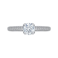 14K White Gold  1 Ct. Diamond Promezza Engagement Ring With Round Center