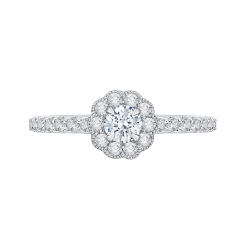 14K White Gold  3/4 Ct. Diamond Promezza Engagement Ring With Round Center