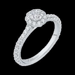14K White Gold  3/4 Ct. Diamond Promezza Engagement Ring With Round Center