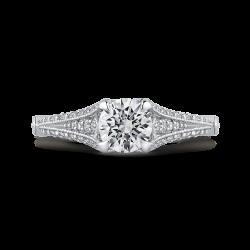 14K White Gold 1.70 ct. Diamond Promezza Engagement Set with Round Center