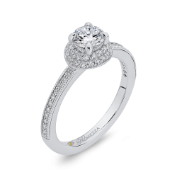 14K White Gold 3/4 ct. Diamond Promezza Engagement Set with Round Center