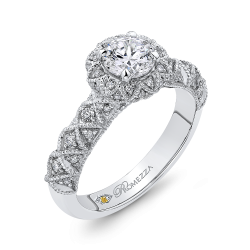 14K White Gold 1.51 ct. Diamond Promezza Engagement Set with Round Center