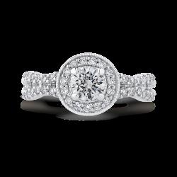 14K White Gold 1.22 ct. Diamond Promezza Engagement Set with Round Center
