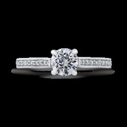 14K White Gold Round Diamond Classic Engagement Ring