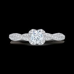 14K White Gold Round Diamond Floral Engagement Ring