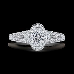 14K White Gold Round Diamond Halo Engagement Ring with Split Shank