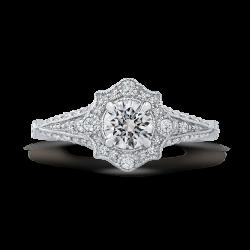 14K White Gold 1 ct. Diamond Promezza Engagement Set with Round Center