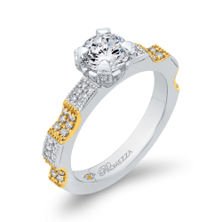 14K Two-Tone Gold 1 ct. Diamond Promezza Engagement Set with Round Center