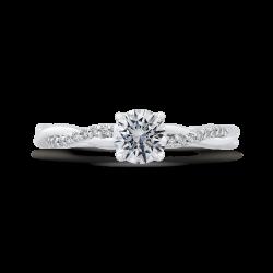14K White Gold 5/8 ct. Diamond Promezza Engagement Set with Round Center