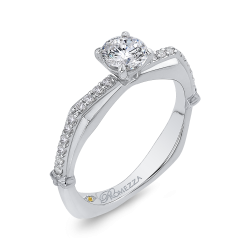 14K White Gold 2/3 ct. Diamond Promezza Engagement Set with Round Center