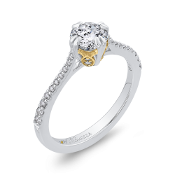 14K Two Tone Gold 7/8 ct. Diamond Promezza Engagement Set with Round Center