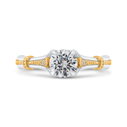 14K Two Tone Gold 3/4 ct. Diamond Promezza Engagement Set with Round Center