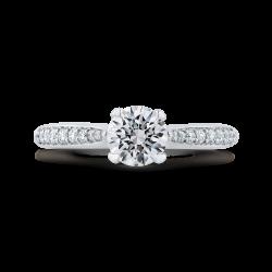 14K White Gold Round Ct Diamond Engagement Ring