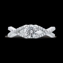 14K White Gold 1 1/4 Ct Diamond Promezza Engagement Set with Round Center