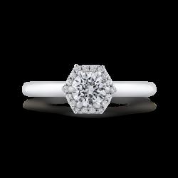 14K White Gold Round Diamond Hexagon Shape Halo Engagement Ring