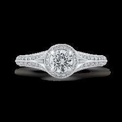 14K White Gold 1.08 Ct Diamond Promezza Engagement Set with Round Center